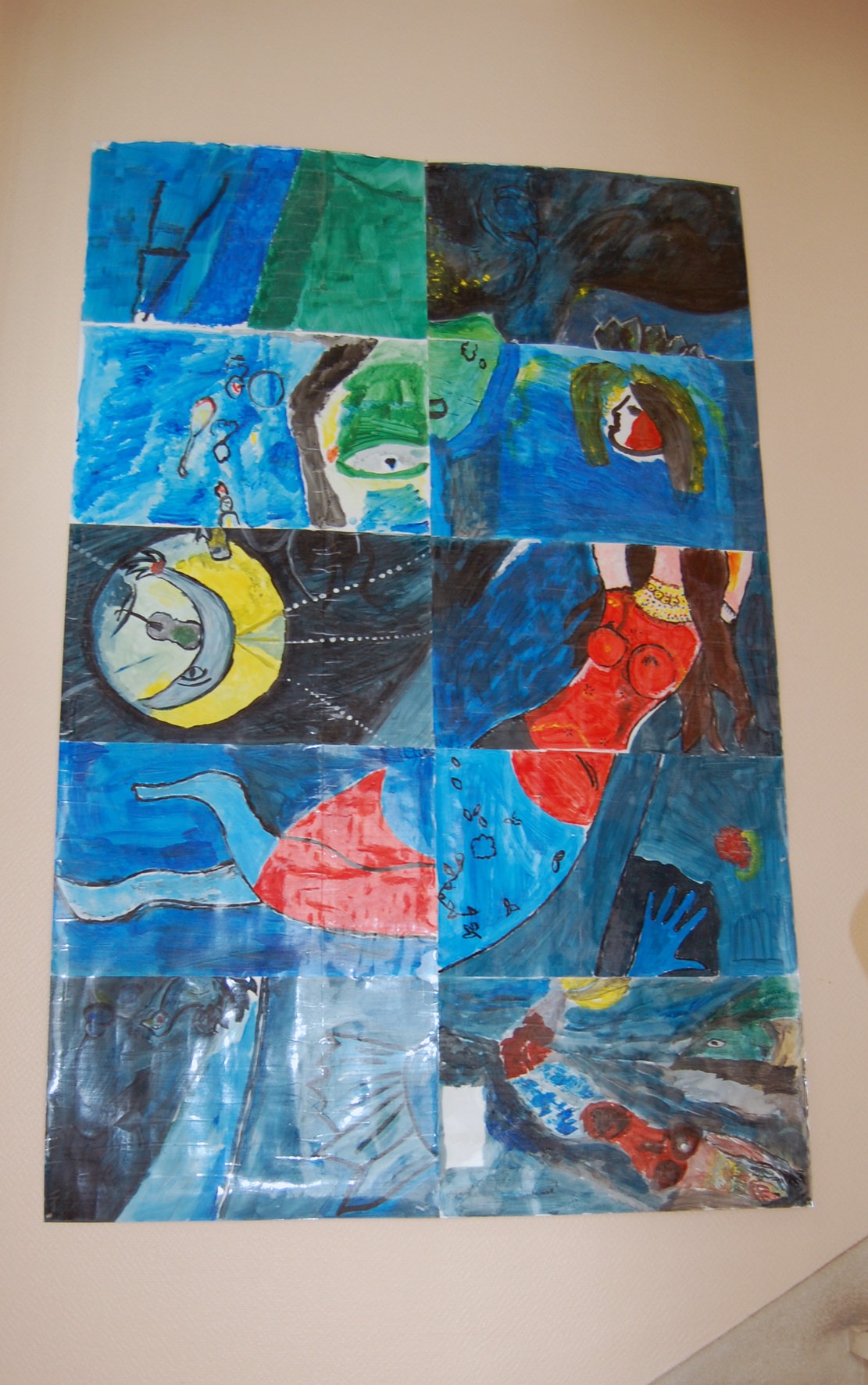 œuvre réalisée par les patients avec des élèves de l'école des Beaux-arts