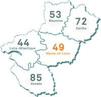 carte Pays de la Loire - Maine-et-Loire