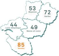 carte Pays de la Loire - Vendée